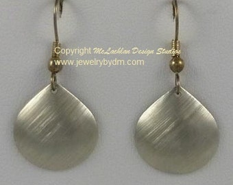 Brushed Silver Tear Drop or shell shaped earrings on French hook ear wires