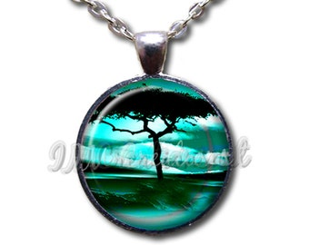 Tree at Dawn - Round Glass Dome Pendant or with Necklace by IMCreations - NT107