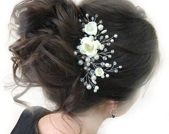 Wedding Hair Comb Flower Hair Piece Bridal Hair Accessories Floral Headpiece Floral Hairpiece Ivory Bridal Comb Wedding Silver Hair Comb