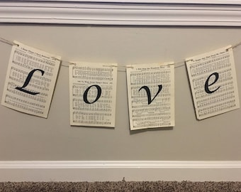 Love banner - hanging banner - mantel decor - wedding banner