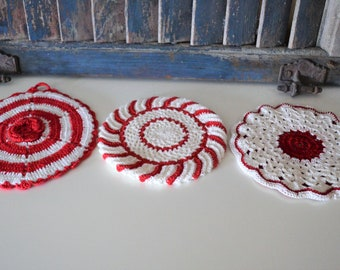 3 Red and White Vintage Hand Crocheted Potholders