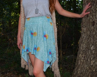 teal hawaiian handkerchief skirt ; one of a kind ; beach cover up with pink and yellow flower print