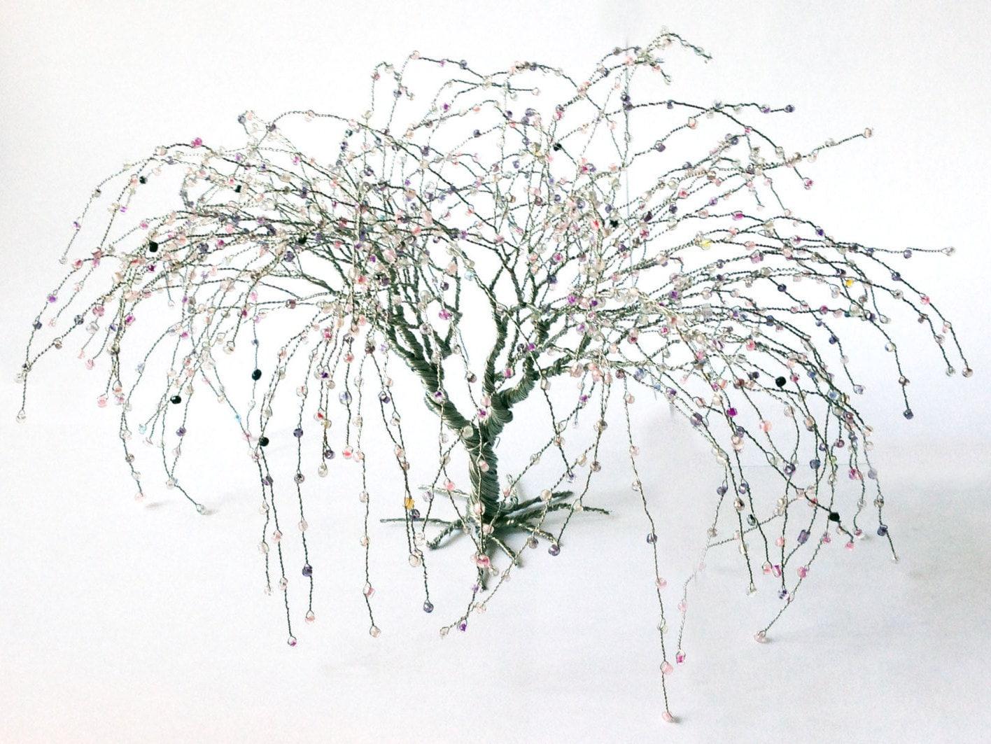 Weide Draht Art Baum Silberdraht rosa grau Perlen Kunst Baum