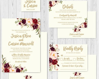 Cream Sunflower Wedding Invitation Suite Online Wedding