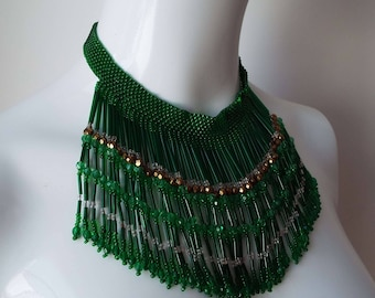 Stunning Vintage Art Deco Green Glass Beaded Fringed Necklace Waterfall Necklace Choker Necklace Bib Necklace 1920's Flapper 1930's