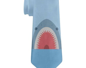 Cute Fun Shark Attack All Over Neck Tie