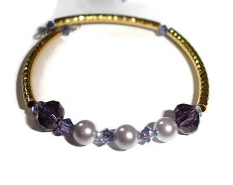 Gold bracelet wedding bracelet purple pearl purple crystal gift for her gift for wife gold and purple wrap bracelet 7 inch Swarovski crystal