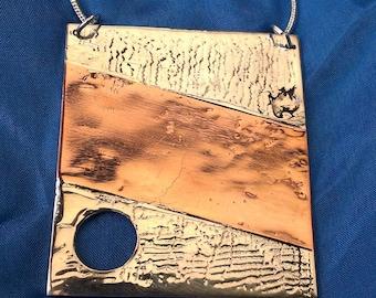 Strata 2 - Silver and Copper Pendant