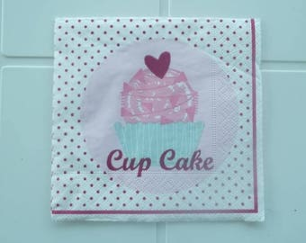 set of 2 cup cake paper napkins