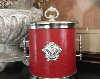 Crest Red Ice Bucket Vinyl w/ Lid Covered Vintage Cooler ~ #T2000