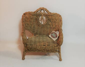 Vintage Doll Wicker Bench, Doll Wicker Loveseat