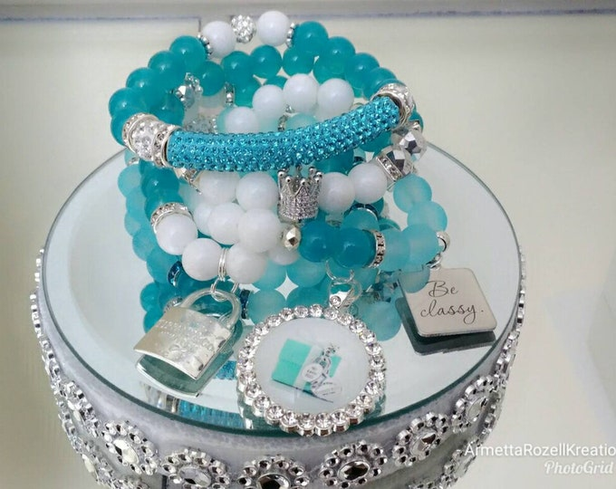 Designer Inspired Ladies Teal & White Rhinestone Bracelet set, stackable Bracelet's, anniversary gifts, birthday gifts