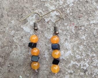 Halloween Earrings; Gemstone Earrings; Orange and Black Earrings