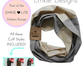 The Cozy For Eternity Scarf + Cuff - PDF Sewing Pattern - Instant download, scarf, cuff, infinity scarf, scarf decoration, accessory