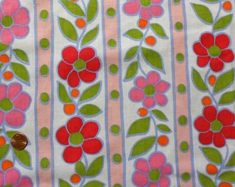 Pink and Red Flower with Dots and Stripes on Vintage Sheet Fat Quarter