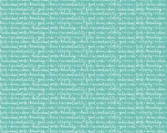 Heart and Soul  - C6702-Aqua Heart Values Aqua by Deena Rutter for Riley Blake Designs