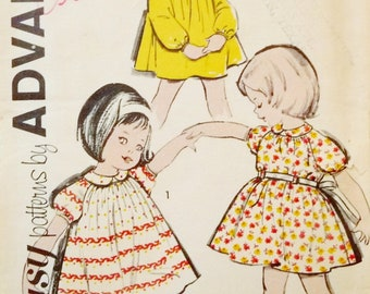Vintage Girl's Gathered Dress, Sleeve and Collar Variations - Advance 2807 Sewing Pattern Child Size 6 1960's UNCUT