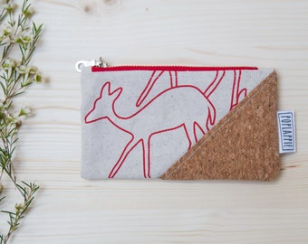 Skinny laMinx fabric with cork accent, small zipper pouch