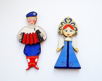 Fridge russian magnets, traditional russian couple guy and girl magnets
