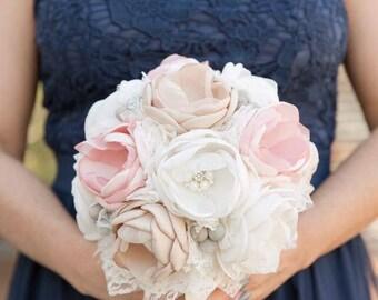Vintage Bouquet, Bridesmaid Bouquet, Blush Bouquet, Champagne Bouquet, Fabric Bouquet