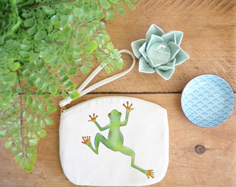 Tree Frog Canvas Zip Bag, Makeup Bag, Coin Purse, Small Accessory Pouch, Stocking Filler, Frog Gift