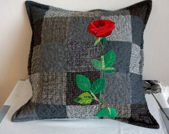 Grey and Black Pillow Cushion, Red Rose Pillow, Decorative Pillow Cover, Quilted Patchwork pillow, Unique Bedroom Decor