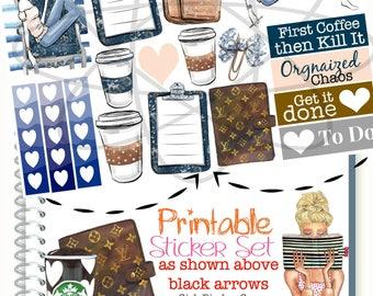 Planner Girl Printable Stickers, Louis Vuitton Planner Stickers, Checklist Full Box, Fashion Girl Planner Sticker, Glam Planner, To Do List