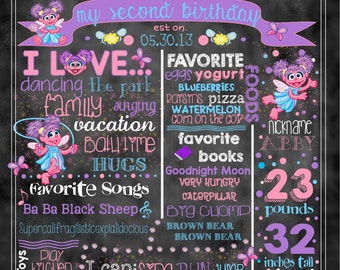 "Abby Cadabby Birthday Stat ""Chalkboard""(digital poster) WITH or WITHOUT Elmo (2 Photos)"