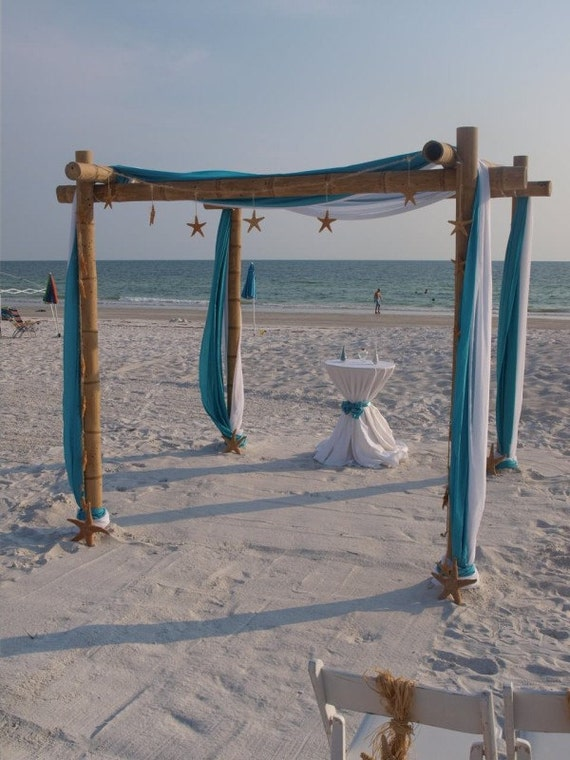 Wedding Arch/Wedding Chuppah With 4 Drapes Of Fabric Bamboo