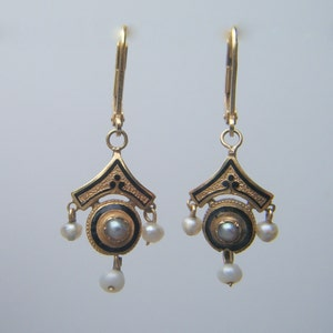 RESERVED *** Antique Pearl Earrings, Very Rare Second Empire 18kt GOLD EARRINGS with Black Enamel  Pearls; Renaissance Revival French c 1865