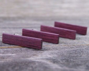 Groomsmen tie clip set crafted from Brazilian Purpleheart - FREE ENGRAVING AVAILABLE!
