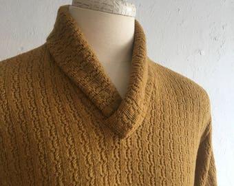 Men's burnt mustard sweater * Vintage 1950s shawl collar sweater * 50s wool knit man sweater
