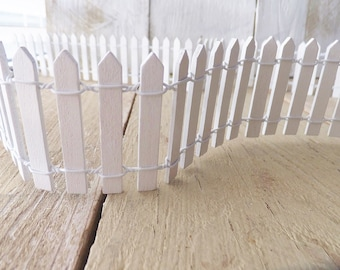 """Fairy Garden Fence 36"""" ~ Summer Fairy Garden ~ Putz Village ~ White Picket ~ Fall & Christmas Craft Supply"""