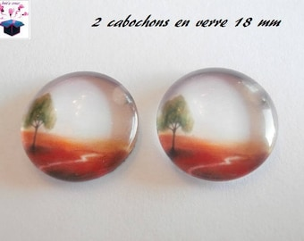 2 glass cabochons domed 18mm tree fall theme