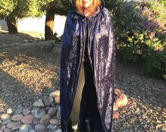 Ready to ship, Navy Blue Velvet Hooded Cloak.  Great for Halloween, Comicon, Renaissance, Rituals, Etc.  Size S-XL.  Other Colors Available.