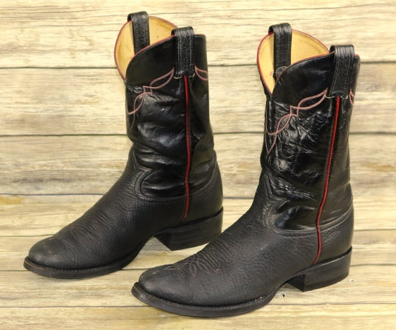Rockabilly Mens Tony Vintage Leather D Black Red Size Boots Lama Western 8 Cowboy 66fqXP