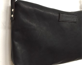 Black Eco Leather Crossbody Bag, Handmade from Smooth Full Grain Leather with a High Quality Zipper, Use it as Commuter Bag