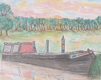 Old Fashioned Narrowboat Print. - Narrowboat at Sundown - Canal -  river -  Waterways -  Workingboat - sunset - Print - Signed Print -