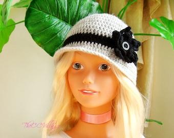 Grey black Crochet Baby Hat, Gray Crochet Girl Hat, crochet Cap, Crochet Beanie, with handmade flower,