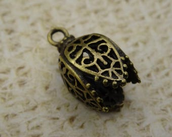 2 charms carved petals Bell metal bronze Asian 20mm