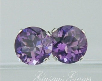 Amethyst Stud Earrings Sterling Silver 6mm Round 1.55ctw