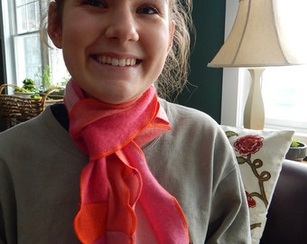 Reversible Recycled Cashmere Scarf  - Pink, Orange and Peach