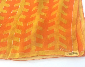 Pumpkin orange Vera Neumann silk scarf, orange and yellow abstract pattern, Vera scarf, ladies accessories, silk scarf, TwoSwansSwimming
