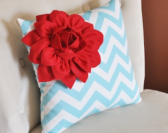 Red Corner Dahlia on Aqua and White Zigzag Pillow -Chevron Pillow-