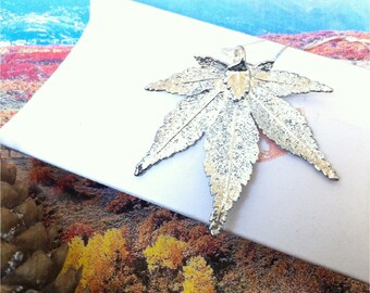 Real Leaf Jewelry, Japanese Maple Leaf Necklace Pendant, Sterling Silver Dipped, Natures leaves