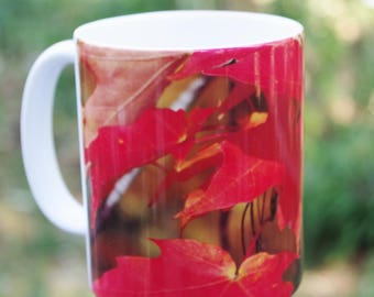 Fiery autumn maple leaves nature inspired Ceramic mug, 11 or 15 oz | kitchen decor, Christmas, housewarming gift for her gift for him 1361