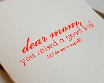 Letterpress Mother's Day card - Mom Kid