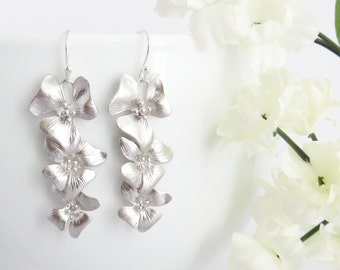 Orchids Earrings, Dangle Earrings, Drop Earrings, Mom Gift, Christmas Gift, Gift for Mom, Wedding Earrings, Bridesmaid Earrings, Wife Gift