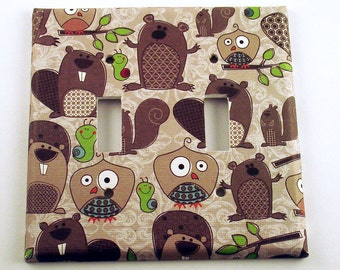 Light Switch Cover Wall Decor  Double  Switchplate in Forest Friends  (085D)