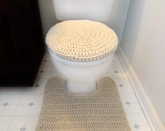 Toilet Cover Set and Contour Rug - PDF Crochet Pattern - Instant Download